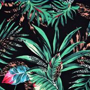 Viskose Jerseystoff tropische Blätter, grün schwarz