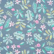 Jerseystoff Blätter Blümchen. pink mint jeansblau