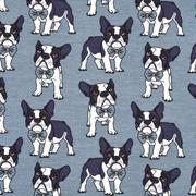 Jerseystoff Hunde, dunkelgrau jeansblau