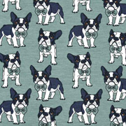 Jerseystoff Hunde, dunkelgrau mint