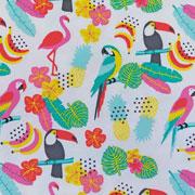 Jerseystoff Papagaie Blumen, weiß