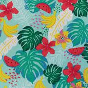 Jerseystoff tropische Blätter Blumen Melone, weiß