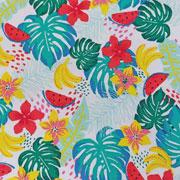 Jerseystoff tropische Blätter Blumen Melone, mint