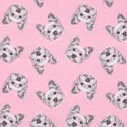 Jerseystoff Hunde Gesichter Digitaldruck, grau rosa