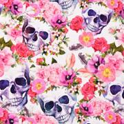 Jerseystoff Totenköpfe Blumen Digitaldruck, rosa pink lilablau weiß