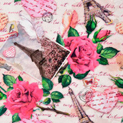 Jerseystoff Eiffelturm Paris Rosen Herzen,pink nude hellbeige