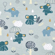Jerseystoff Elefanten Wolken, petrol weiß mint