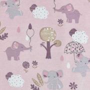Jerseystoff Elefanten Wolken, grau weiß altrosa