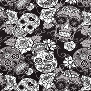Jerseystoff Totenköpfe Skulls Mexiko Digitaldruck, weiß schwarz