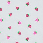 Jerseystoff Erdbeeren, neonpink weiss