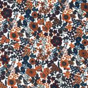 Baumwollstoff kleine Blumen Silky Cotton, terracotta petrol weiß