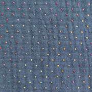 Musselin Stoff Double Gauze Punkte Regenbogenfarben, dunkles jeansblau