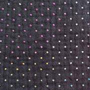Musselin Stoff Double Gauze Punkte Regenbogenfarben, schwarz