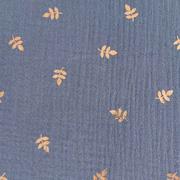 Musselin Stoff Double Gauze Blätter Foliendruck metallic, dunkles jeansblau