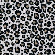 Musselin Stoff Double Gauze Leoparden Muster, beigegrau