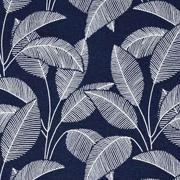 Bio-Sweatstoff Blätter gestrichelt, weiss dunkelblau