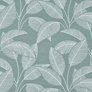 Bio-Sweatstoff Blätter gestrichelt, weiss mattes mint