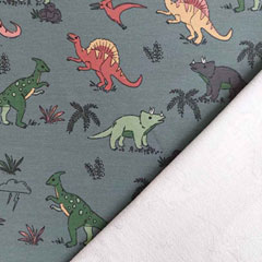 Sweatstoff French Terry Dinosaurier, altmint