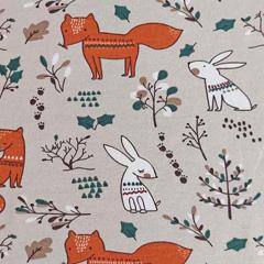 Jerseystoff Füchse Hasen Blätter, beige