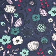 Jerseystoff Kelchblumen Blätter Retro, indigoblau