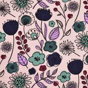 Jerseystoff Kelchblumen Blätter Retro, helles altrosa/nude