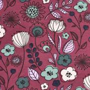 Jerseystoff Kelchblumen Blätter Retro, bordeaux