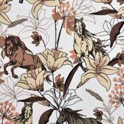 Sweatstoff French Terry Blumen Pferde, weiß
