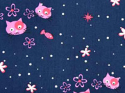Baumwollstoff Katzen Fische, rosa auf dunkelblau