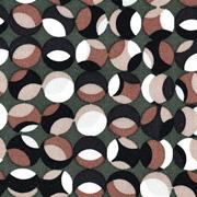 Viskose Twillstoff gemusterte Kreise, schwarz braun dunkelgrün