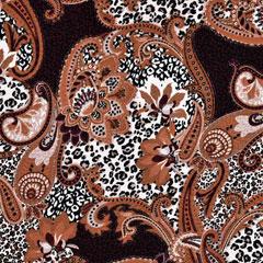 Viskose Jerseystoff Paisley Leopardenmuster,weiß taupe terracottabraun