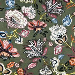Viskose Jerseystoff Kelchblumen,jeansblau weinrot khakigrün