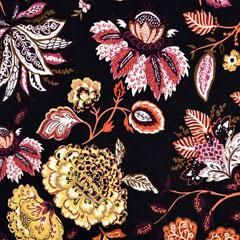 Viskose Jerseystoff Kelchblumen, ockergelb terracotta schwarz