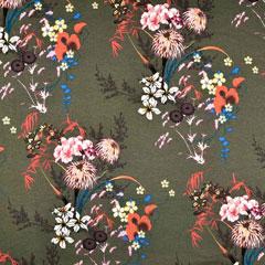 Viskose Jerseystoff Blumen Asia Look, terracotta senfgelb khakigrün