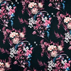Viskose Jersey Stoff Blumen Asia Look, beere petrol schwarz