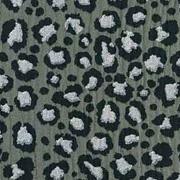 Musselin Stoff Double Gauze Leoparden Muster, schwarz khakigrün