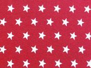 Jersey Sterne 1 cm, weiss auf dunkelrot (granat)