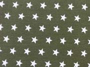 Jersey Sterne 1 cm, weiss auf oliv grün