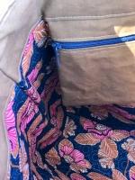 Vintage Lederimitat geprägte Optik,dunkelblau