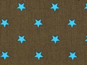 BW Sterne 1 cm aquamarin auf khaki