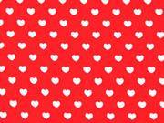 Baumwollstoff kleine weiße Herzen, rot