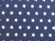RESTSTÜCK 45 cm Jersey Sterne 1 cm, weiss auf dunkelblau