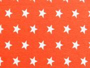 Jersey Sterne 1 cm, weiss auf orange