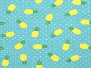 Jersey Ananas Punkte, gelb helles aquamarin