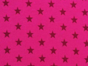 Jersey Sterne 1 cm, weinrot auf fuchsia (pink)