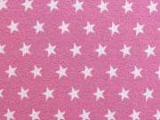 Jersey Sterne 1 cm, altrosa auf himbeer