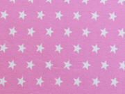 RESTSTÜCK 20 cm Jersey Sterne 1 cm, weiss auf rosa