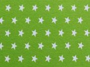 RESTSTÜCK 76 cm Jersey Sterne 1 cm, weiss auf limette
