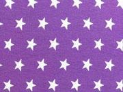 Jersey Sterne 1 cm, weiss auf lila