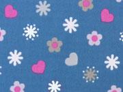 RESTSTÜCK 36 cm Baumwolle Herzen & Blumen, blau