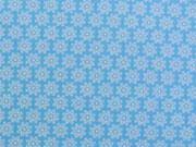 Baumwolle Streublümchen - babyblau/weiss